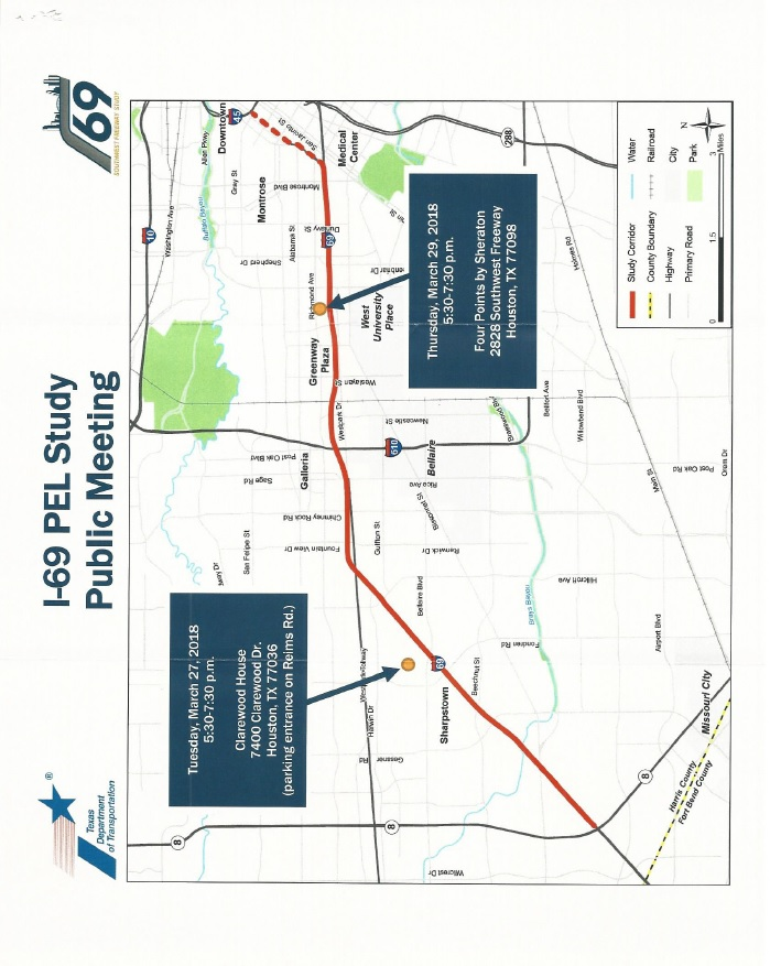 Map Of Interstate 69 In Texas.Public Meetings For Pel Study Along I 69 Corridor Sharpstown Civic