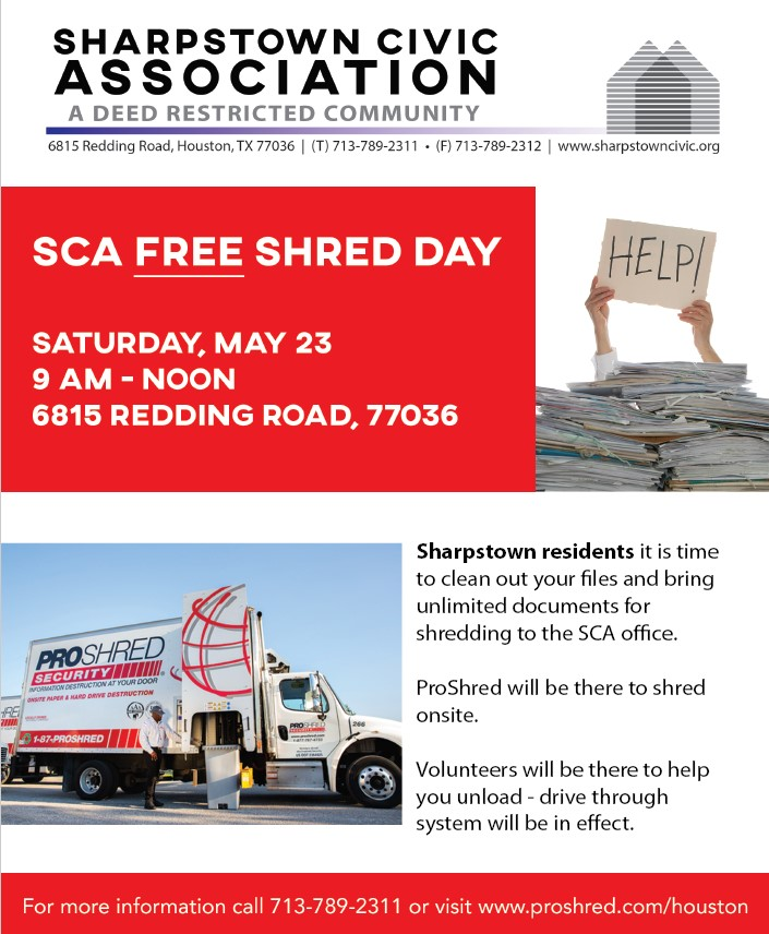 SCA Sponsors Free Shred Day On Saturday May 23rd